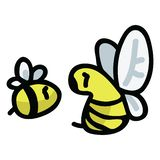 Netter Honigbienenkarikaturvektorillustrations-Motivsatz Handbloggen gezogene Garten-Bestäuberinsekten Ikonen stock abbildung