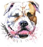 Netter Hund Hundet-shirt Grafiken Aquarellhundeillustration Aggressive Hunderasse Lizenzfreie Stockbilder