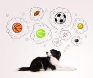 Netter Hund mit Bällen in den Gedankenblasen Lizenzfreie Stockfotografie