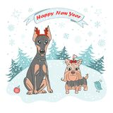 Netter Hund und Vogel in der Karikaturart Lizenzfreies Stockfoto