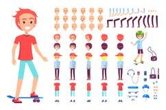 Netter Jugendlicher auf Skateboard, Vektor-Plakat lizenzfreie abbildung