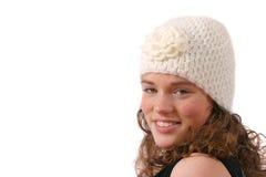 Netter Jugendlicher mit lustigem Wollehut Stockbild
