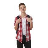 Netter Jugendlichjunge über Weiß lokalisiertem Hintergrund Stockbild
