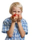 Netter Junge, der ein Bündel Tomaten riecht Stockbilder