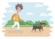 Netter Junge, der mit Hund geht Lizenzfreies Stockbild