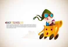 Netter Junge, der seinen Schule-Rucksack läuft Lizenzfreies Stockfoto