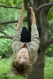 Netter Junge, der vom Zweig des Baums hängt Stockbilder