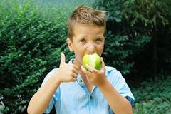 Netter Junge mit grünen Apple und den Daumen oben Im Freienfoto Bildung und Kindermodekonzept Stockfoto