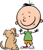 Netter Junge mit Hundekarikaturillustration Lizenzfreies Stockbild