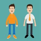 Netter Jungencharakter des lustigen Karikaturkerls Art der legeren Kleidung Geschäftsmann-Office-Manager Lizenzfreies Stockbild