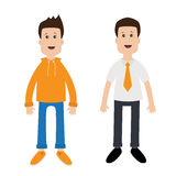 Netter Jungencharakter des lustigen Karikaturkerls Art der legeren Kleidung Geschäftsmann-Office-Manager Leben- und Arbeitsbalanc Stockbilder