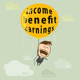 Netter junger Geschäftsmann glücklich und Fliege mit Ballon von Einkommen Stockfoto
