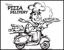 Netter junger Lieferbote, der einen Pizzakasten hält, während Sie auf Weiß lokalisiert werden Karikaturpizzajunge Lizenzfreie Stockfotos