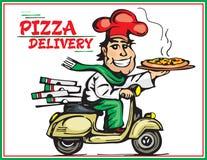 Netter junger Lieferbote, der einen Pizzakasten hält, während Sie auf Weiß lokalisiert werden Karikaturpizzajunge Lizenzfreie Stockfotografie