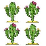 Netter Kaktusvektor stellte mit Mädchengesichtern und -blumen ein Lächelnder, überraschter und ruhiger Kaktus Adarable Stockbild