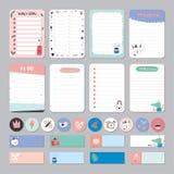Netter Kalender-täglicher und wöchentlicher Planer Stockbilder