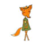 Netter Karikatur Fox in einem Kleid mit einem Hahn Lizenzfreie Stockbilder