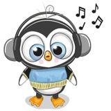 Netter Karikatur Pinguin-Junge mit Kopfhörern Stockbild