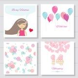 Netter Karikatur Valentinsgrußtag oder Glückwunschkarten und Schablonensatz vektor abbildung