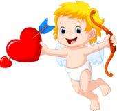 Netter Karikaturamor, der rotes Herz hält lizenzfreie abbildung
