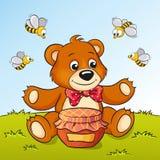 Netter Karikaturbär mit Honig und Bienen Lizenzfreie Stockfotos