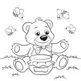 Netter Karikaturbär mit Honig und Bienen Stockbilder