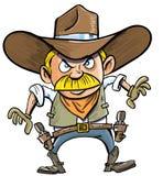 Netter Karikaturcowboy mit einem Gewehrgurt. Stockfotografie