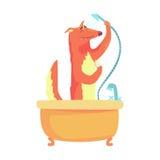 Netter Karikaturfuchs, der eine Dusche, roten Fuchs sich wäscht in einem bunten Charakter der Badewanne, Tierpflegenvektor Illust lizenzfreie abbildung
