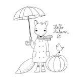 Netter Karikaturfuchs unter einem Regenschirm und einem kleinen Vogel auf einem Kürbis Lizenzfreies Stockfoto