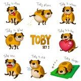 Netter Karikaturhund Toby. Satz 2 Stockfotografie