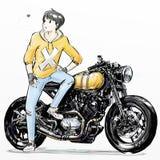 Netter Karikaturjunge, der ihr Motorrad reitet Stockbild