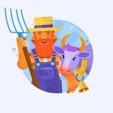 Netter Karikaturlandwirt w mit lächelnder Kuh Charaktere für Maskottchendesign Auch im corel abgehobenen Betrag Stockfotografie