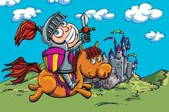 Netter Karikaturritter auf einem Pferd Stockfotografie