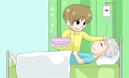 Netter Karikatursohn pflegt seinen alten kranken Vater mit Liebe und Ca Lizenzfreie Stockfotos
