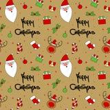 Netter Karikaturweihnachtscharakter und nahtloser Vektor der dekorativen Elemente kopieren Hintergrundillustration Stockfotos