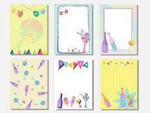 Netter Kartensatz von Eiscreme und Getränke und Flasche Wein Weinlesekarten mit Mustern und Verzierungen Hand gezeichneter Karten stock abbildung