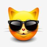 Netter Katze Emoticon, emoji, tragende Sonnenbrille des smiley - vector Illustration stock abbildung