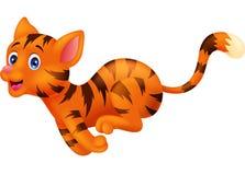 Netter Katzenkarikaturbetrieb Lizenzfreie Stockfotografie