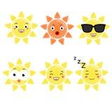 Netter kawaii Sonnencharakter Vektor emoji, Emoticons, Ausdruckikonen Lokalisierte Gestaltungselemente, Aufkleber Stockbilder