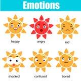 Netter kawaii Sonnencharakter Vektor emoji, Emoticons, Ausdruckikonen Lokalisierte Gestaltungselemente, Aufkleber Pädagogisches i Lizenzfreies Stockbild