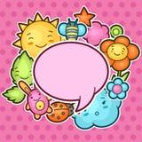 Netter Kinderhintergrund mit kawaii Gekritzeln Frühjahrskollektion nette Zeichentrickfilm-Figuren Sonne, Wolke, Blume, Blatt Stockfoto