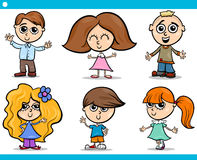 Netter kleine Kinderkarikatursatz Stockfotos
