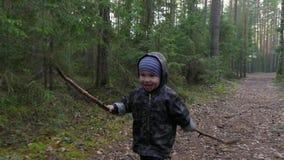 Netter kleiner Junge, der am Park im Kiefernwald geht, Spaß hat und mit Stock, kleiner Jäger spielt stock video footage
