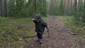 Netter kleiner Junge, der am Park im Kiefernwald, Kind ermüdet, beunruhigt und enttäuscht geht stock video footage