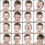Netter kleiner Junge der verschiedenen Gefühle Stockfotografie