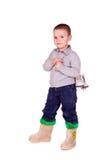 Netter kleiner Junge mit Abbildung lief eis Stockfoto