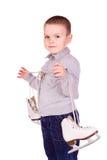 Netter kleiner Junge mit Abbildung lief eis Stockfotos
