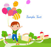 Netter kleiner Junge mit Ballonen stock abbildung