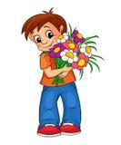 Netter kleiner Junge mit Blumenstrauß Lizenzfreie Stockfotos
