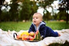Netter kleiner Junge mit einem Korb der reifen Früchte auf der Natur Lizenzfreies Stockbild